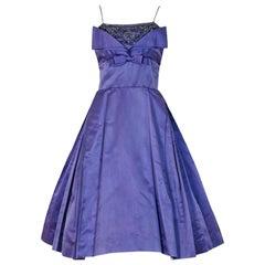1950's Pab Lilac Purple Rhinestone Beaded Silk Shelf-Bust Full Party Dress