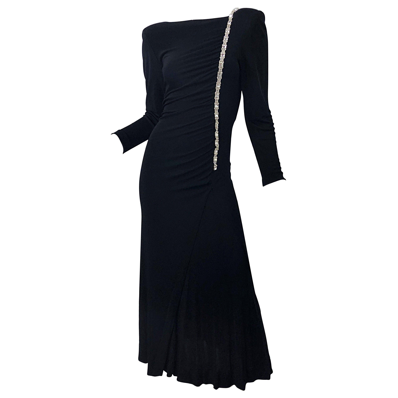 1980s Travilla Size 10 Black Matte Silk Jersey Rhinestone Vintage 80s Gown Dress