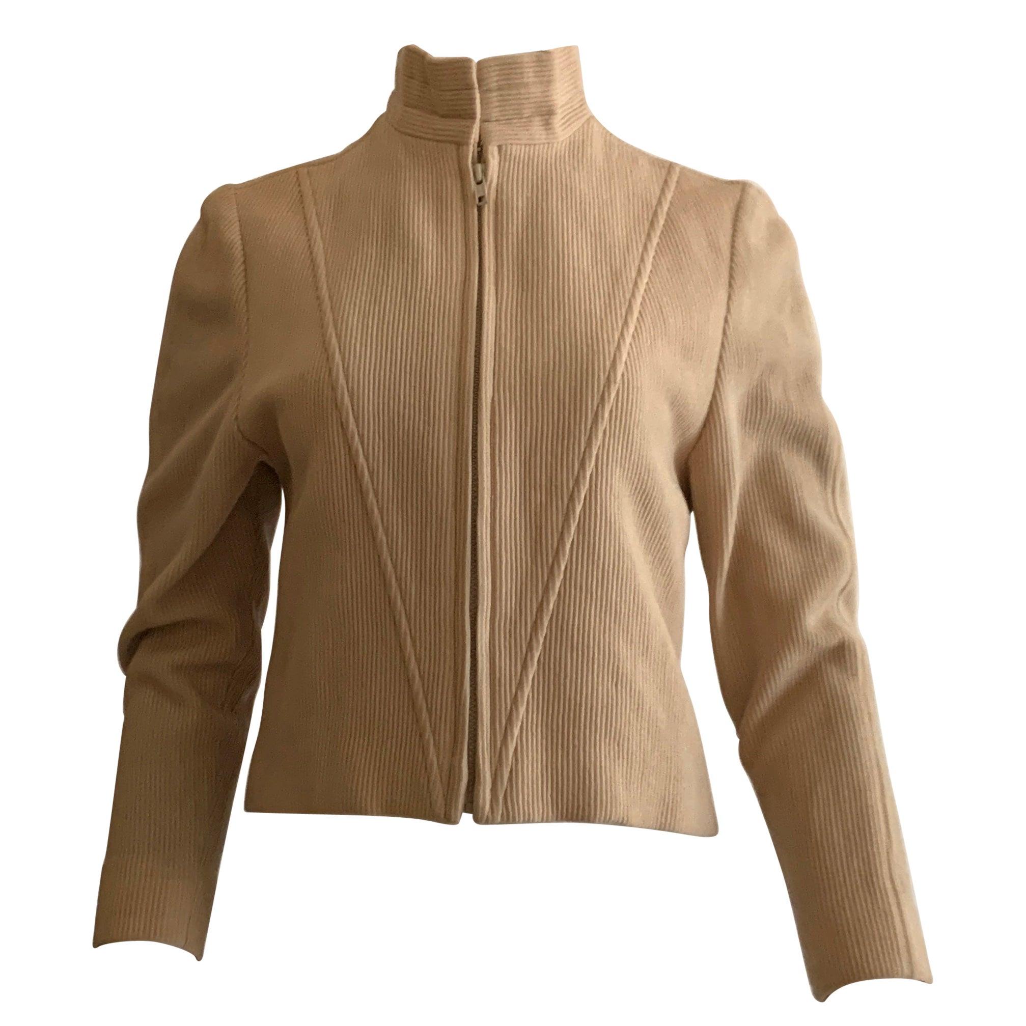 1970s Geoffrey Beene Tan Rib Knit Zip Front Jacket