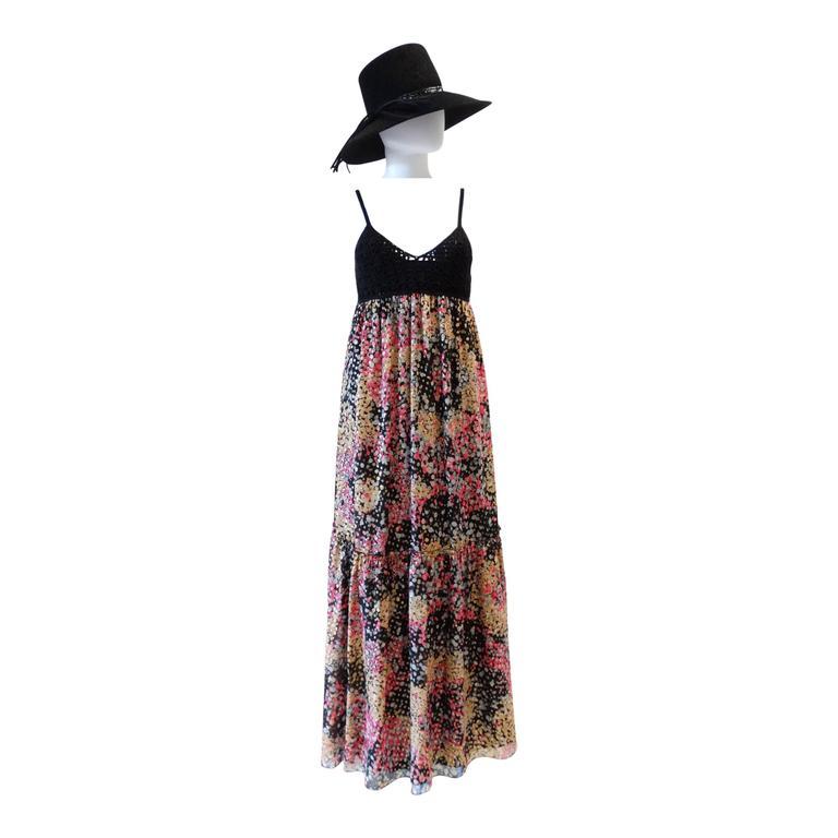 1990s M Missoni Crochet Lame' Maxi Dress
