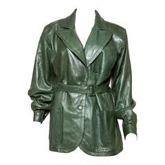 Unique1980s Green Lamb Leather Yves Saint Laurent Jacket