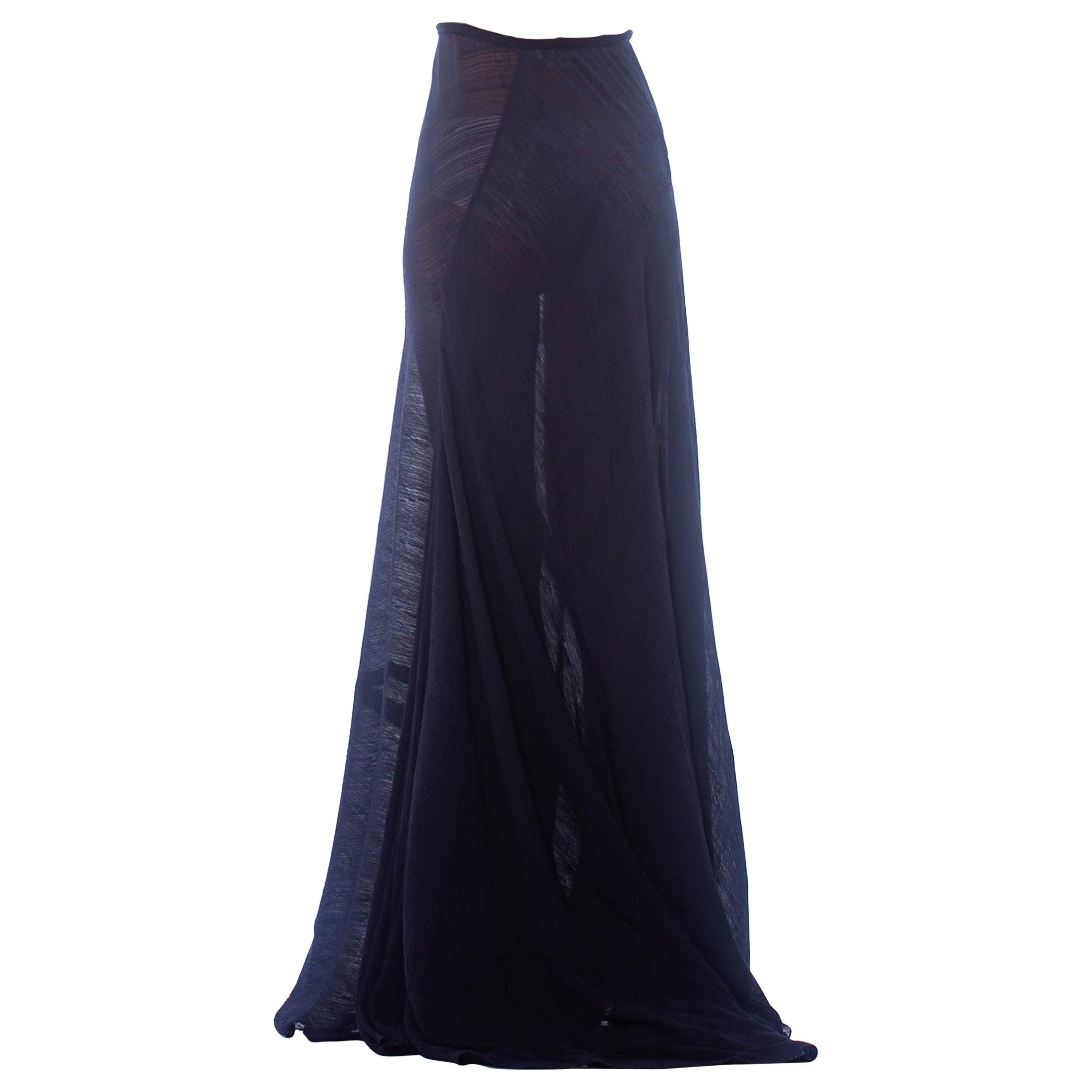 2000S CALVIN KLEIN Navy Blue Sheer Silk Textured Chiffon Bias & Trained Skirt