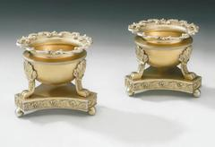 An important and outstanding pair of George III Silver Gilt Salt Cellars made in
