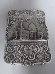 NATHANIEL MILLS. A very rare Castle Top Card Case, St. Paul's Cathedral, made in