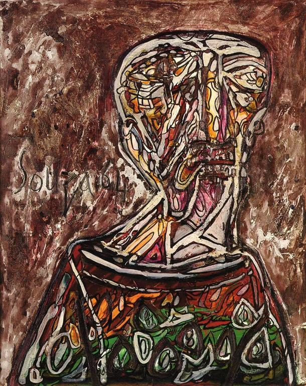 FRANCIS NEWTON SOUZA Abstract Painting - Head of an Old Man