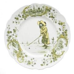 Ceramic Plate with Golf Scene