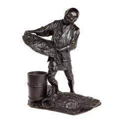 Meiji Period Bronze Sculpture of a Labourer