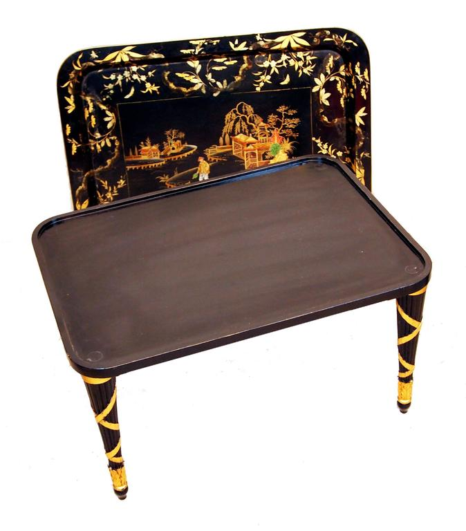 A Very Attractive Mid 19th Century Papier Mache Tray Having  Delightful Painted And Gilded Decoration Housed On Later Ebonised And Gilded Turned Tapering Leg Stand  (Often originally made in sets of three that varied in size paper mâché  trays