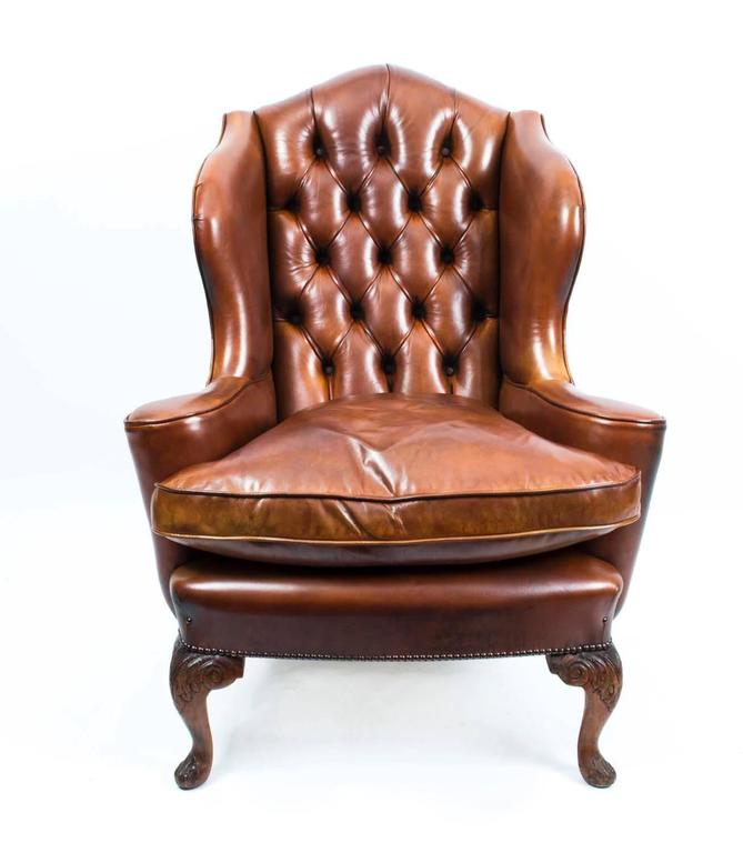 Antique Pair English Leather Wingback Armchairs Circa