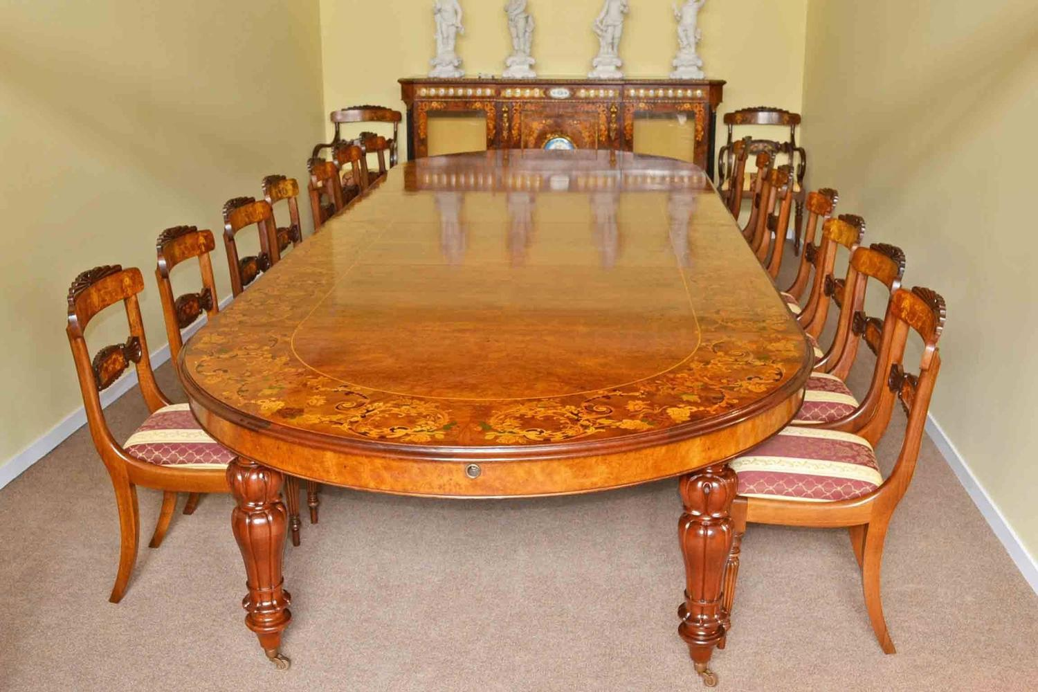 Huge Marquetry Dining Table 16 Chairs Extending Walnut