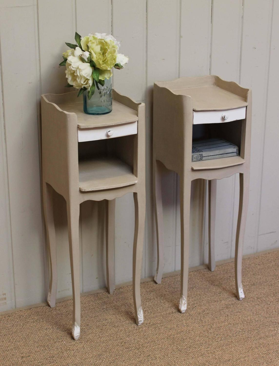 Pair Of Slim Painted Bedside Cabinets At 1stdibs