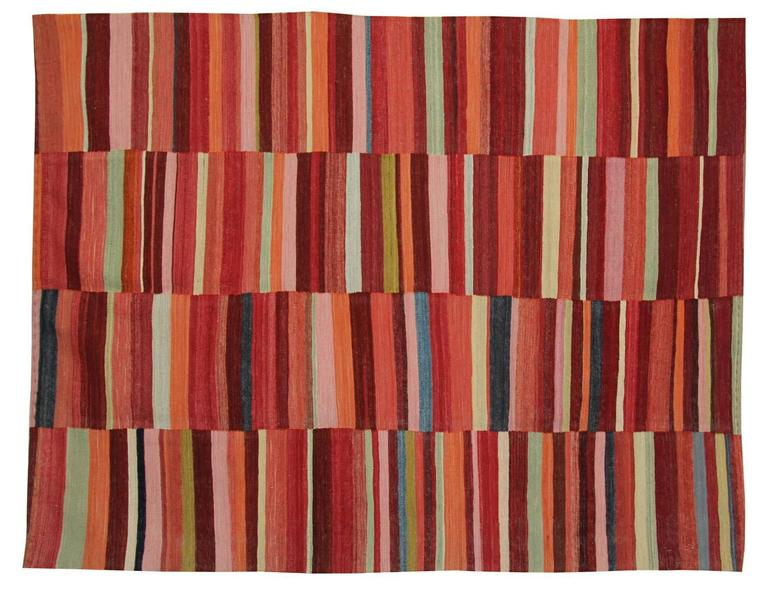 Afghan Primitive Kilim Rugs, Modern Striped Kilim Rugs, Floor Modern Area Carpet For Sale