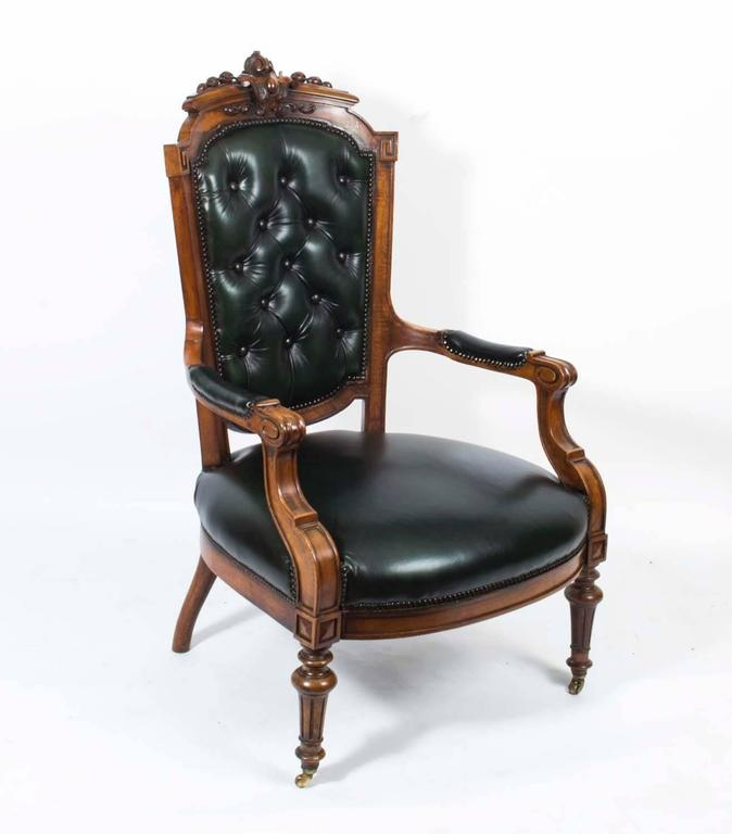 Victorian Leather Living Room Furniture: Antique Victorian Button Black Leather Three Piece Suite