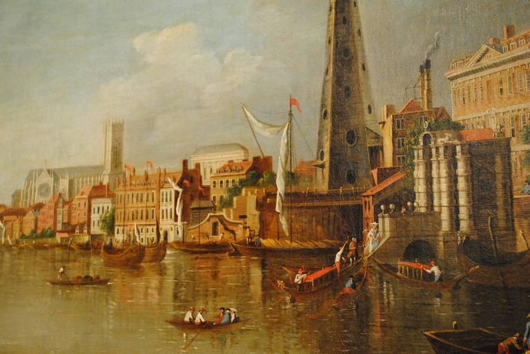 An oil on canvas of Westminster bridge with the water tower on the left hand bank and a fishing boat in the foreground. School of Samuel Scott, this view of the Thames and others became popular after Canaletto visited London and painted in this
