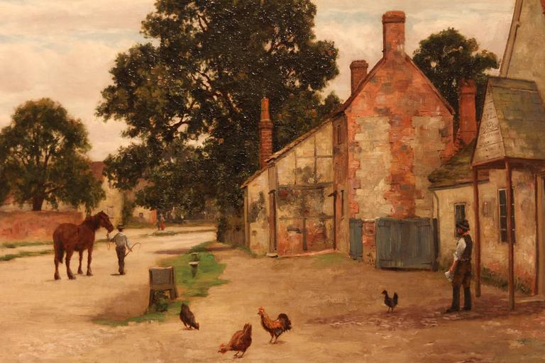"""A Village Street"" oil painting by Richard Halfnight. Richard Halfnight flourished between 1862-1893, originating from Sunderland oil on canvas, 16 x 24"". 
