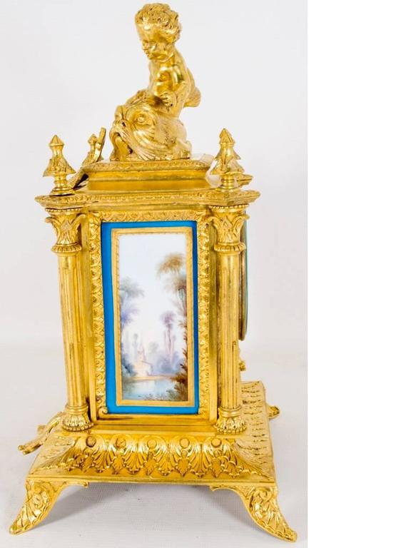 19th Century French Sevres Porcelain Ormolu Clock In Excellent Condition In London, GB