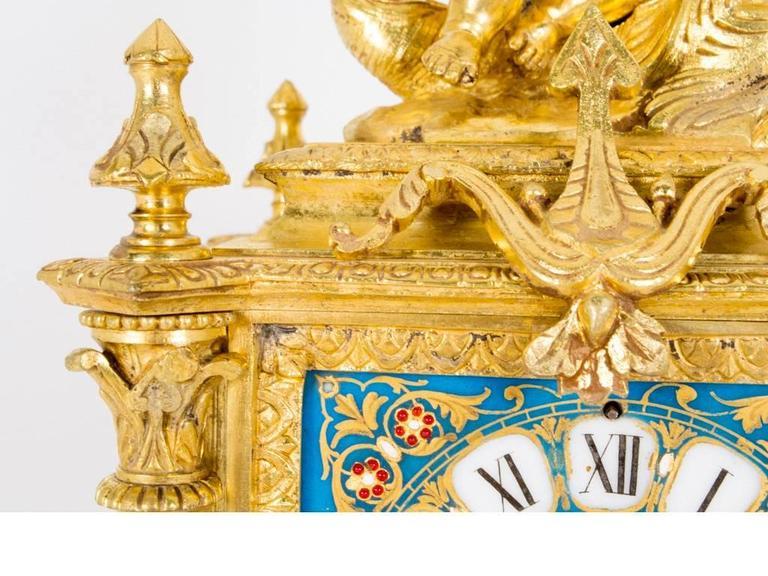 19th Century French Sevres Porcelain Ormolu Clock 3