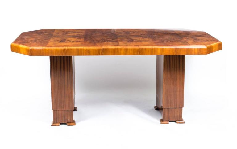 English Antique Art Deco Burr Walnut Dining Table Six Chairs, circa 1930 For Sale