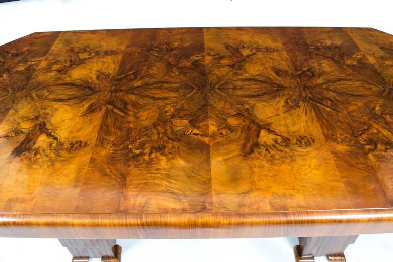 Antique Art Deco Burr Walnut Dining Table Six Chairs, circa 1930 In Excellent Condition For Sale In London, GB
