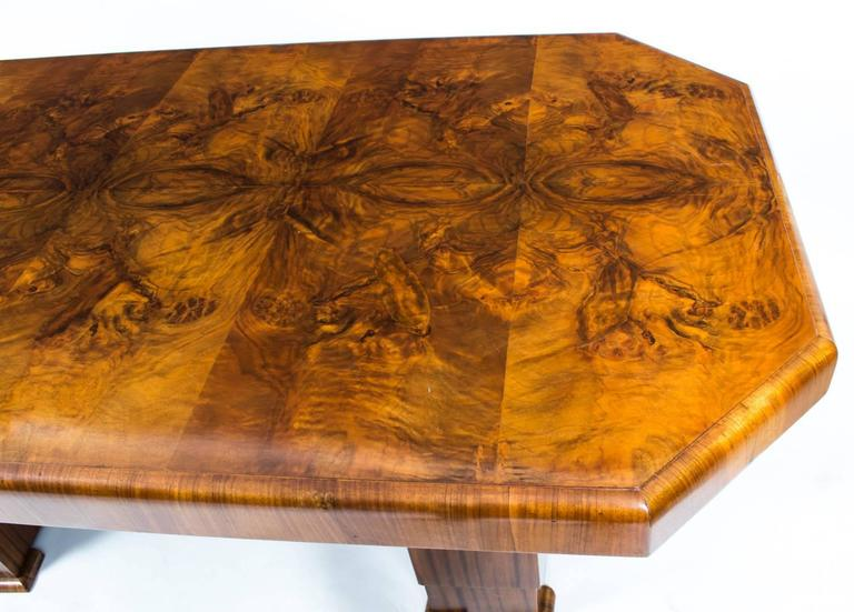 20th Century Antique Art Deco Burr Walnut Dining Table Six Chairs, circa 1930 For Sale