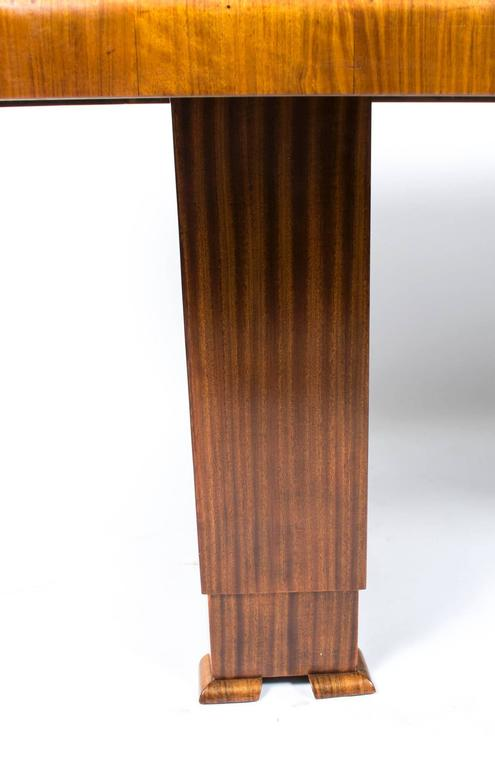 Antique Art Deco Burr Walnut Dining Table Six Chairs, circa 1930 For Sale 3