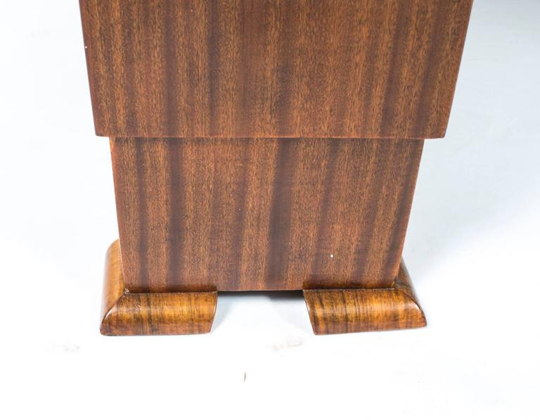 Antique Art Deco Burr Walnut Dining Table Six Chairs, circa 1930 For Sale 4