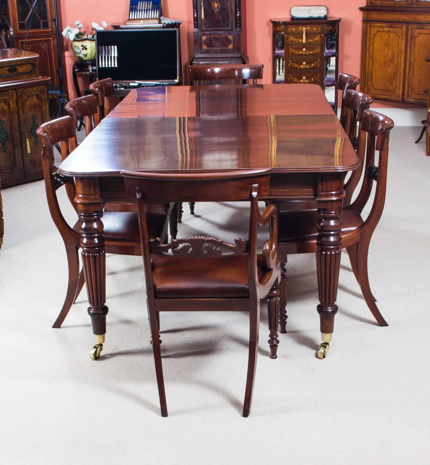 Antique Mahogany Dining Room Furniture: Antique Regency Mahogany Dining Table Eight Regency Chairs