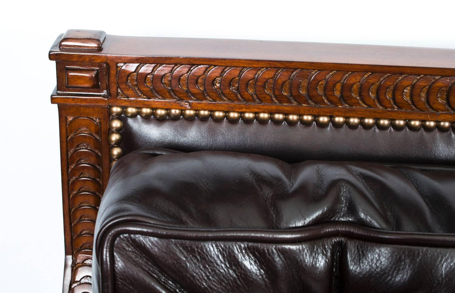 Classic mahogany dark brown button back leather sofa for for Traditional leather sofas sale