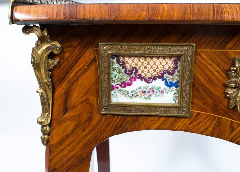 18th Century French Writing Side Table Porcelain Plaques For Sale 1