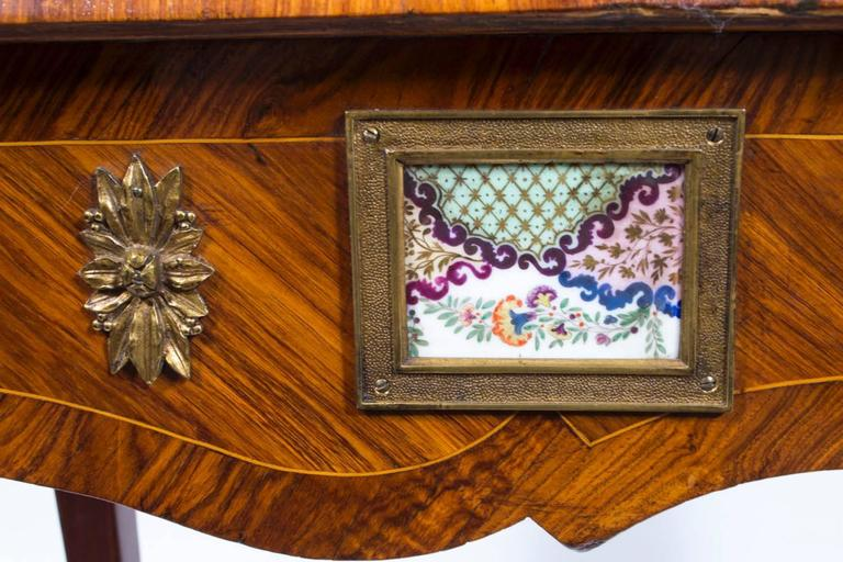 18th Century French Writing Side Table Porcelain Plaques For Sale 3