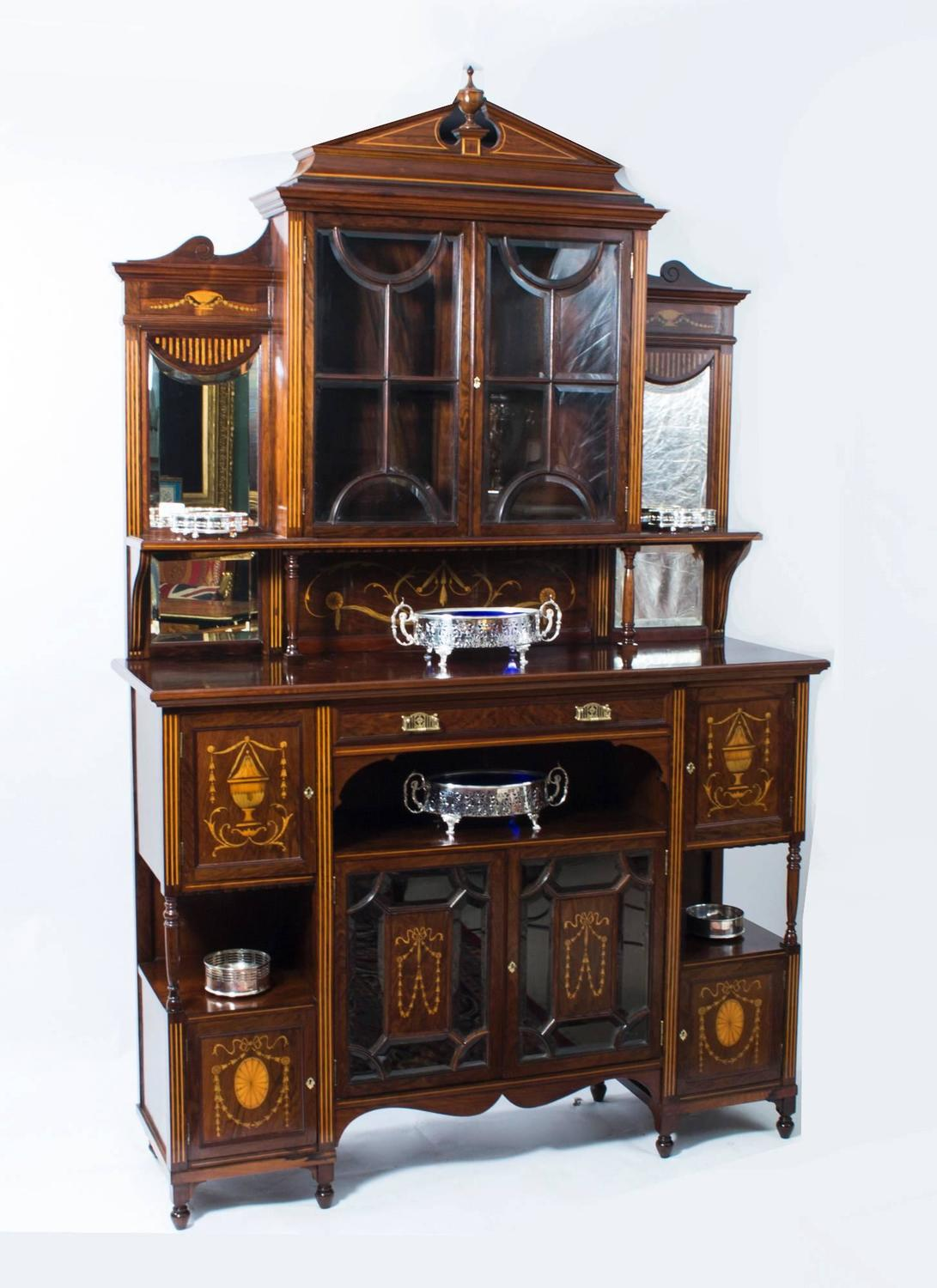 Antique edwardian rosewood inlaid cabinet circa 1890 for for 1890 kitchen cabinets