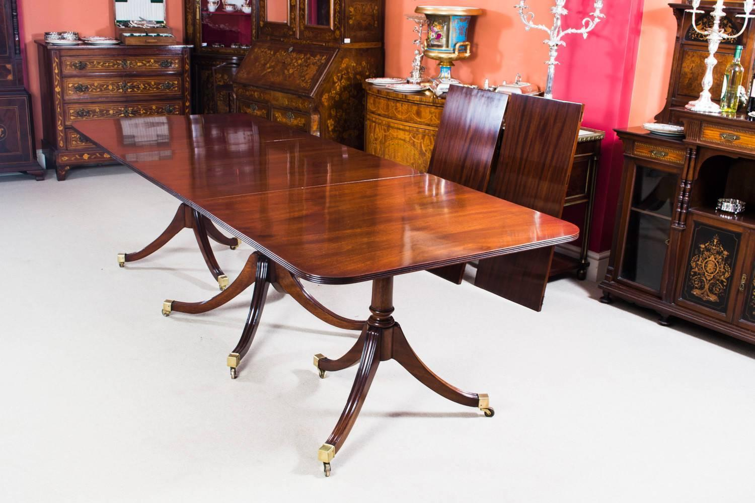 Set Of 3 Wooden Tables: Antique Regency Three-Pillar Dining Table And Ten Chairs