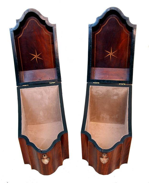 Sheraton Antique Georgian Mahogany Pair of Knife Boxes For Sale