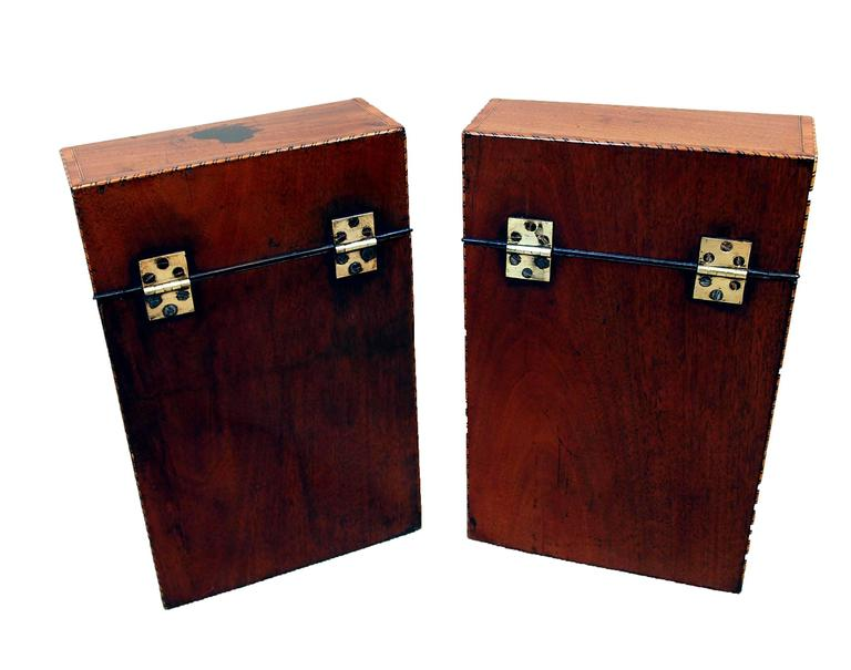 English Antique Georgian Mahogany Pair of Knife Boxes For Sale