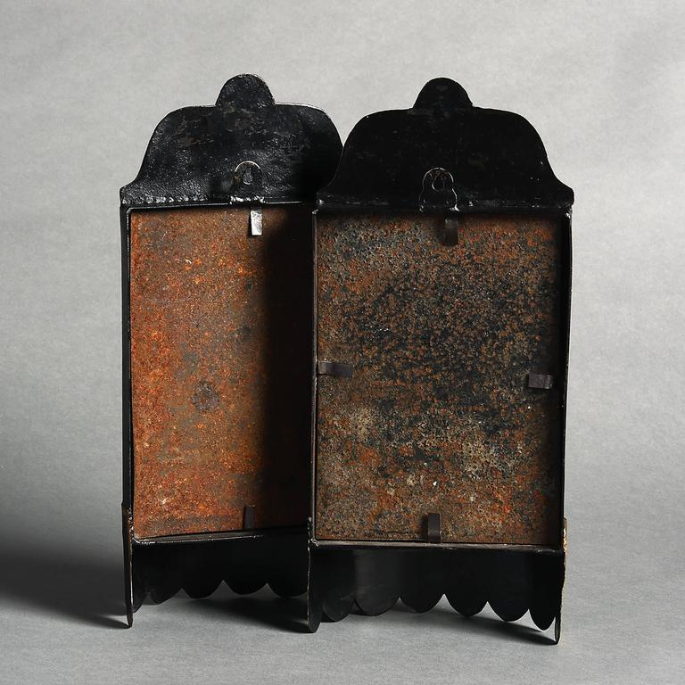 Pair Of 19th Century Black Tole Wall Lights At 1stdibs