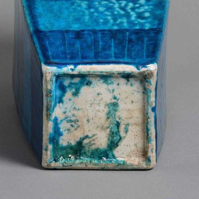 Chinese 19th Century Turquoise Ground Square Vase For Sale