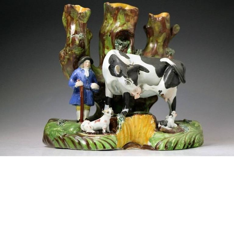 Glazed Staffordshire Pottery Tree Trunk Pearlware Figure of a Cow with Farmer, English  For Sale