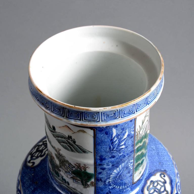 Chinese 19th Century Famille Verte Blue Ground Porcelain Vase For Sale