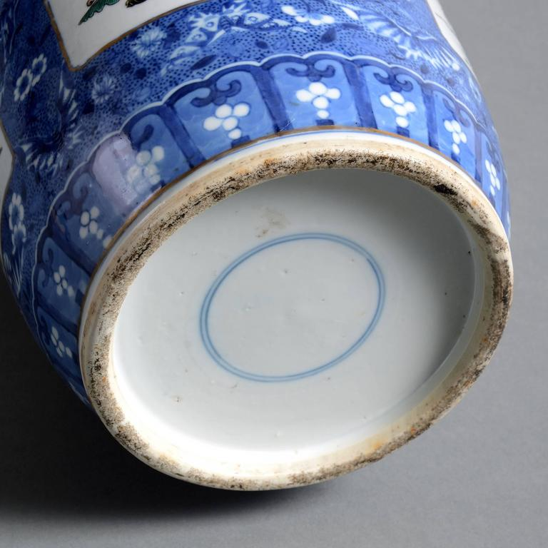 19th Century Famille Verte Blue Ground Porcelain Vase In Good Condition For Sale In London, GB