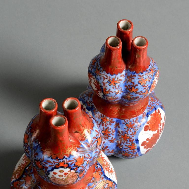 Pair Of 19th Century Imari Triple Gourd Vases For Sale At 1stdibs