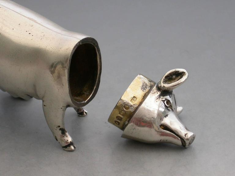 Victorian Novelty Cast Silver Pig Pepper For Sale 1