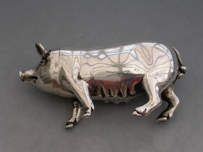 Victorian Novelty Cast Silver Pig Pepper For Sale 4