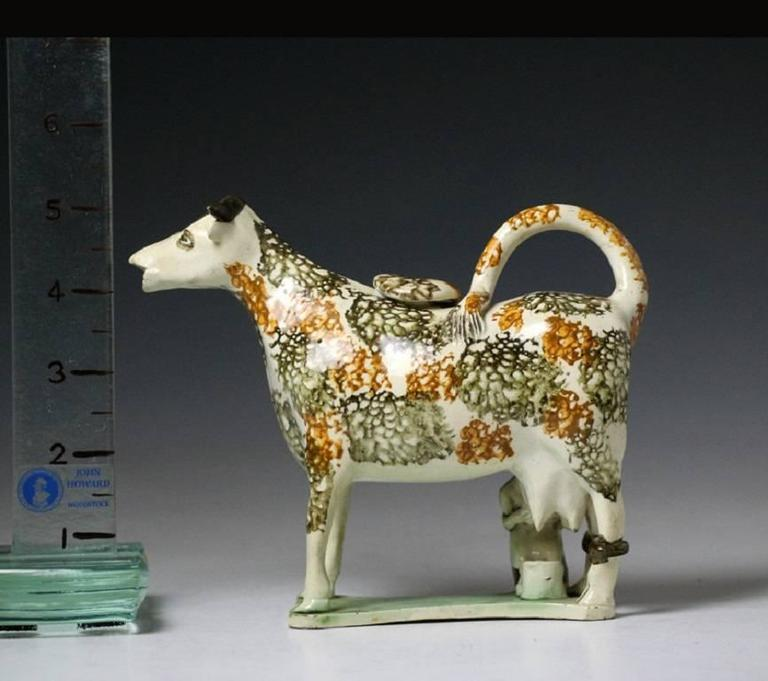 Antique Pearlware Pottery Figure of a Cow Creamer with Hobbled Legs 3