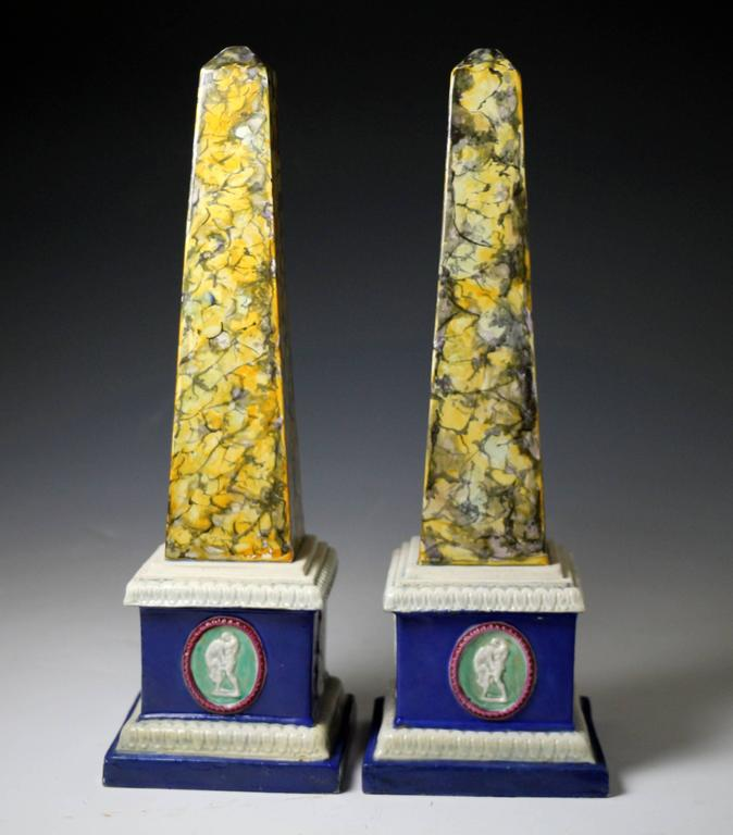 Pair of Staffordshire Pottery Obelisks, Mocha decoration late 18th century 2