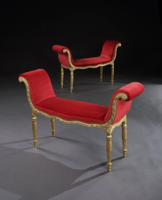 Pair of George III Giltwood Window Seats For Sale at 1stdibs