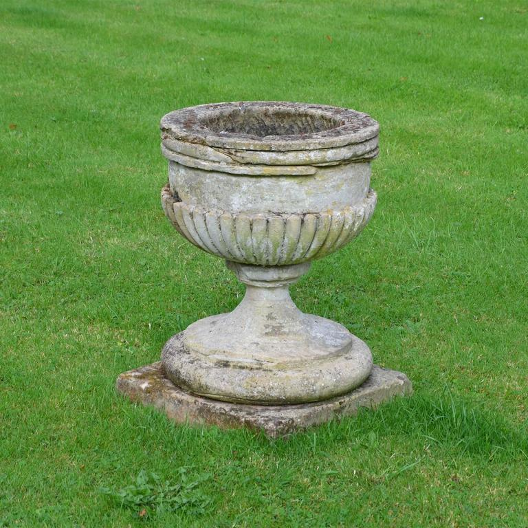 Urn for sale pair of large cast stone garden planters for for Large garden stones for sale