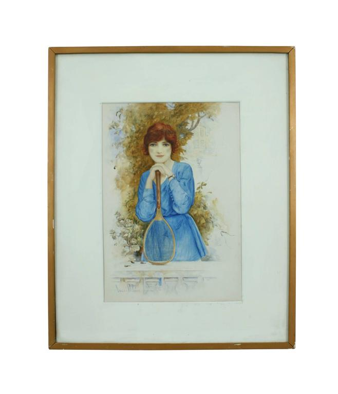 The tennis girl, painting in watercolor. 