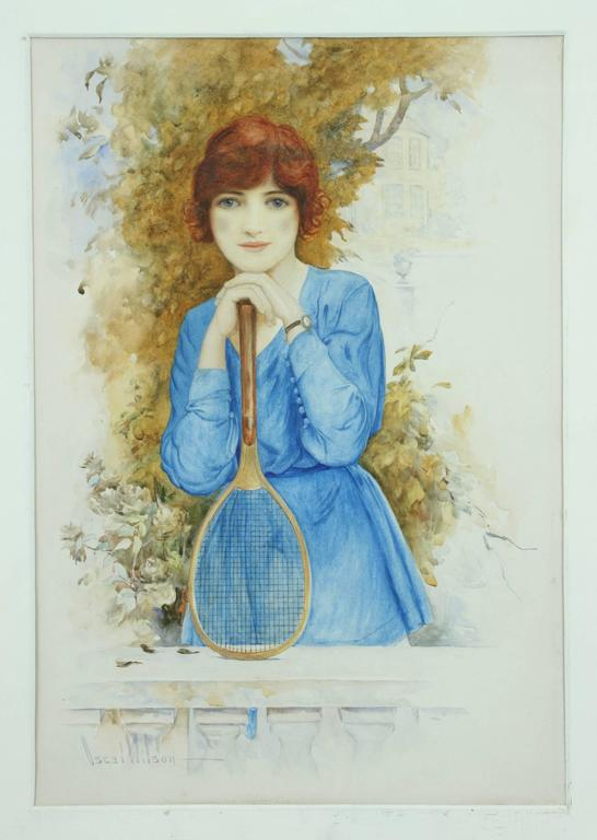 Sporting Art Young Tennis Player Painting For Sale