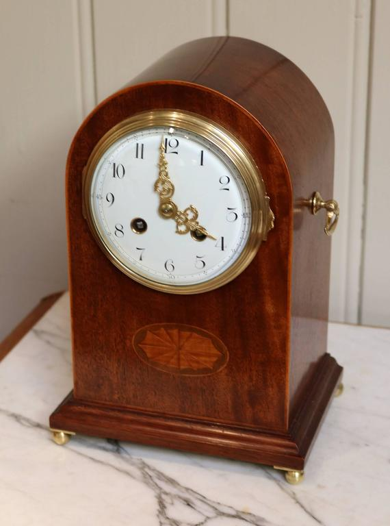 Edwardian Mahogany And Inlay Striking Mantel Clock For