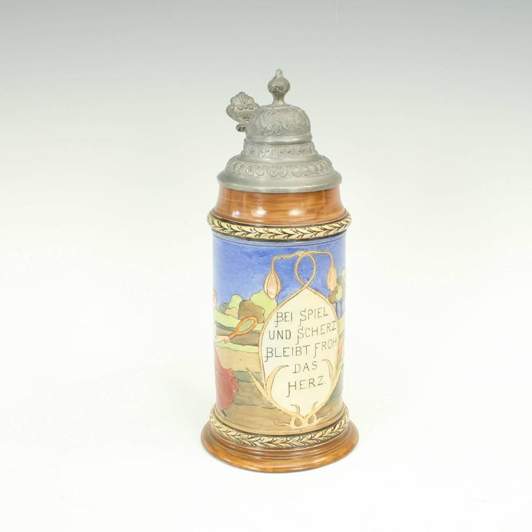 Sporting Art Antique Tennis Beer Stein, German Mettlach Type, 1914 For Sale